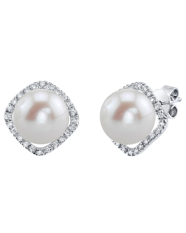 Freshwater Pearl & Diamond Ella Earrings