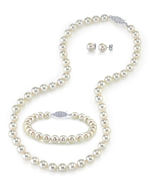 7.5-8.0mm Japanese Akoya White Pearl Set