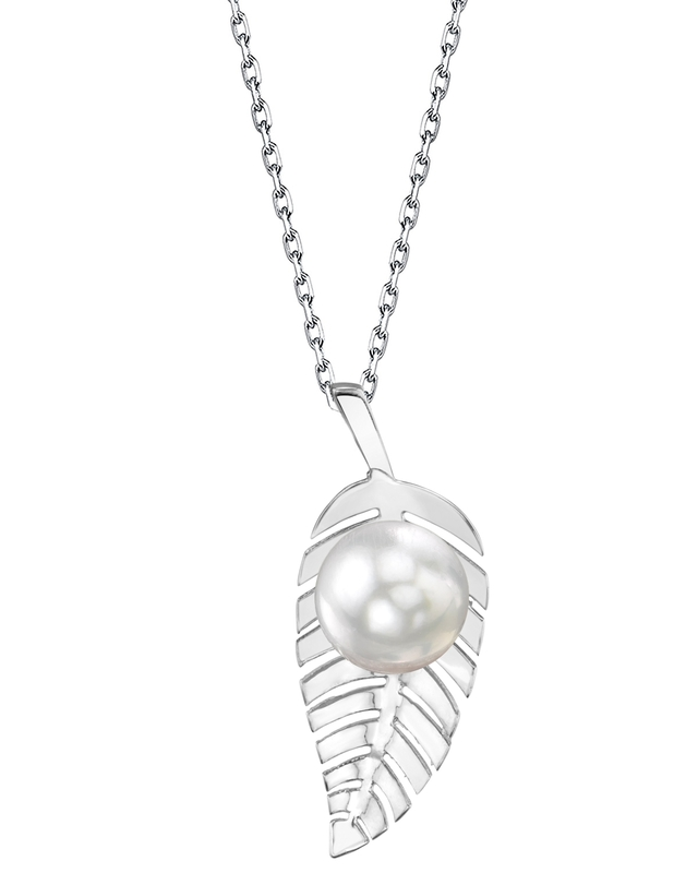White South Sea Pearl Leaf Pendant