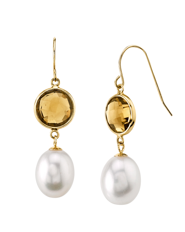 14K Gold Drop-Shape Freshwater Pearl & Quartz Savanah Earrings