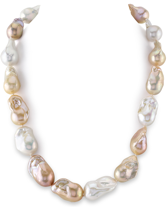 13-16mm Freshwater Multicolor Baroque Pearl Necklace - AAA Quality