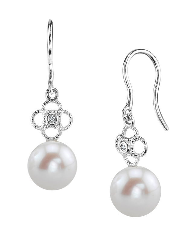 Freshwater Pearl & Diamond Lacy Earrings