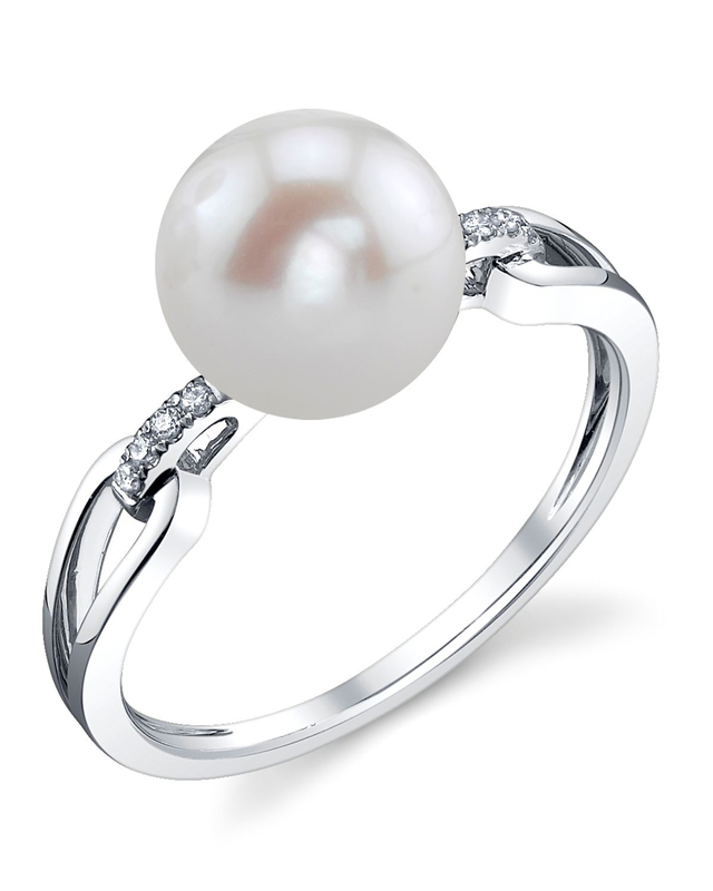 Freshwater Pearl & Diamond Holly Ring