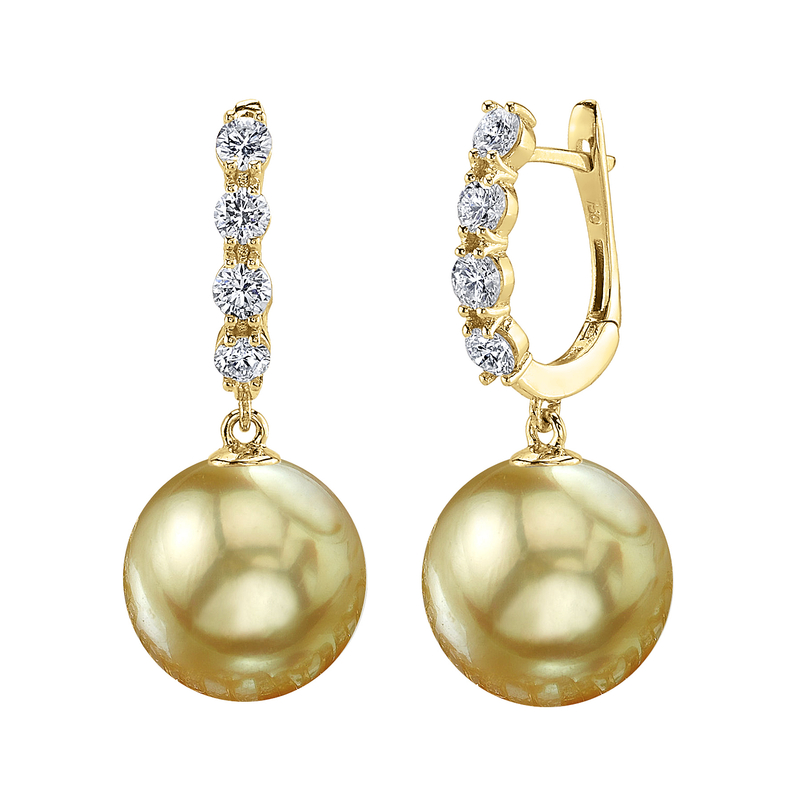Golden South Sea Pearl & Diamond Belle Earrings