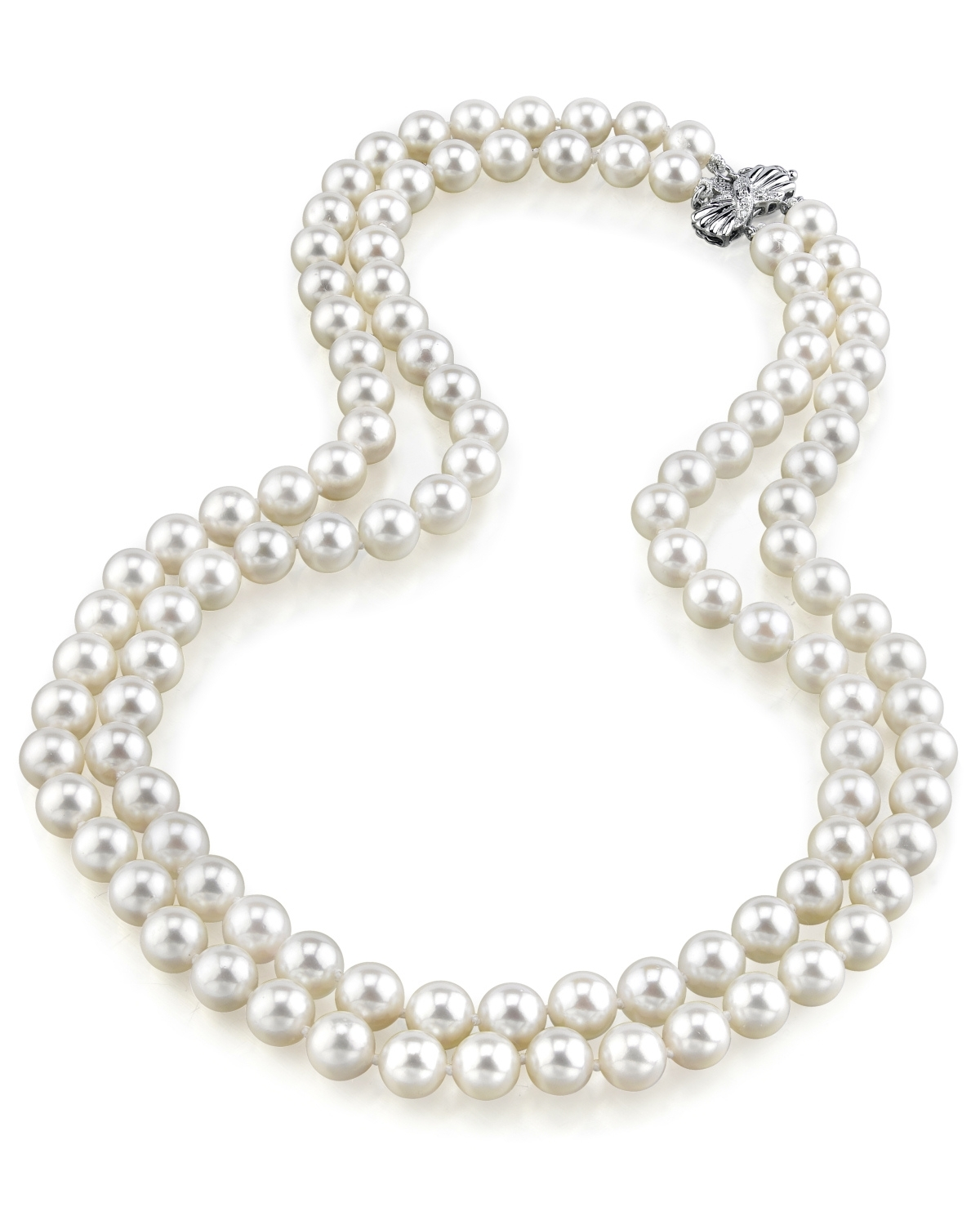 aa63e36288d7e 9-10mm White Freshwater Pearl Double Strand Necklace