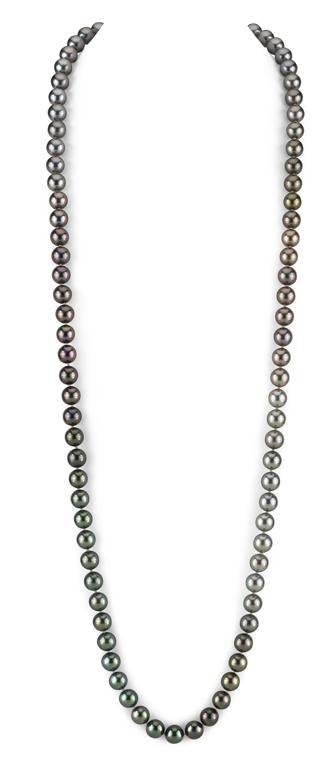 9-10mm  Color Graduated Tahitian South Sea Pearl Necklace - AAAA Quality