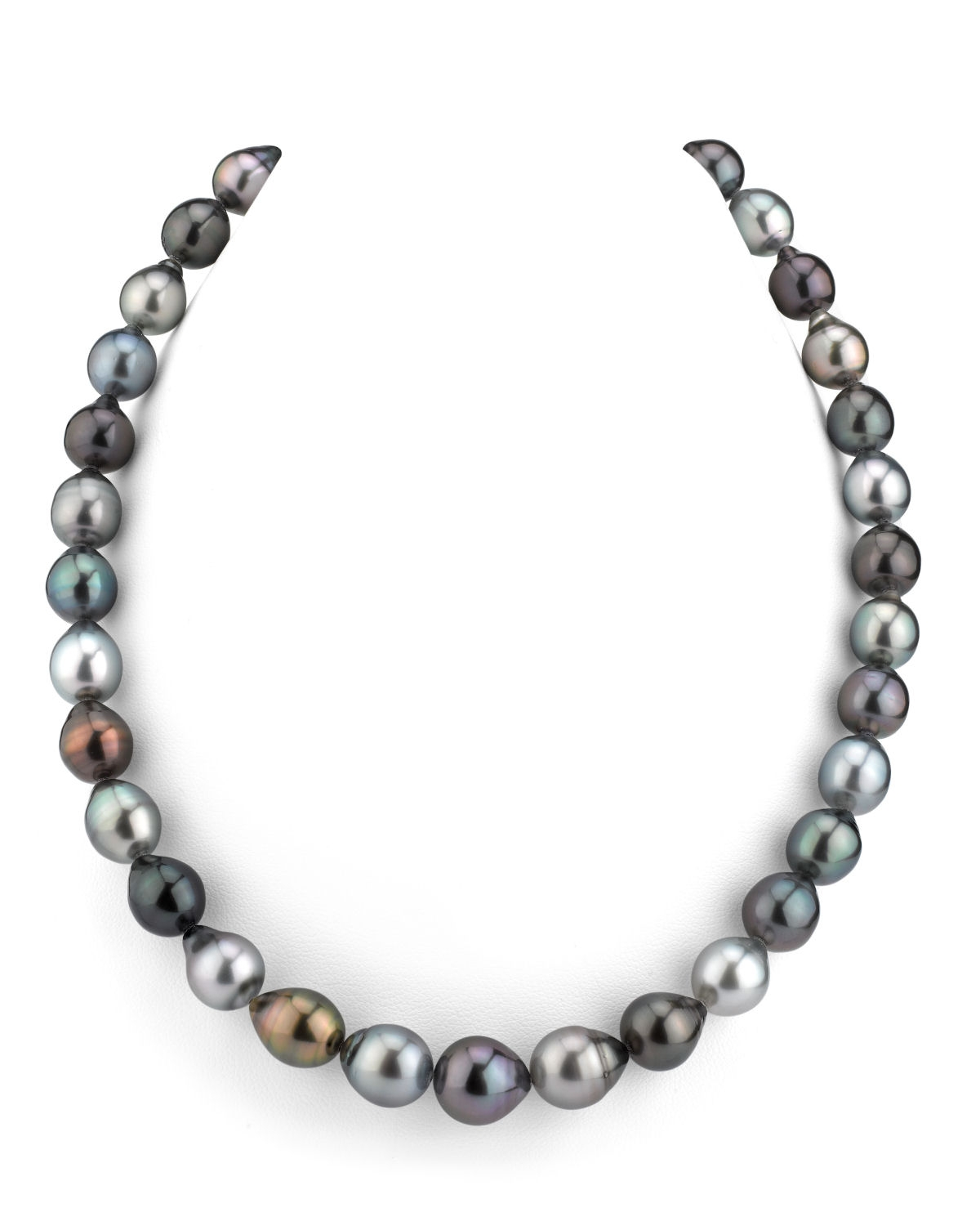 9-11mm Tahitian South Sea Multicolor Drop-Shape Pearl Necklace