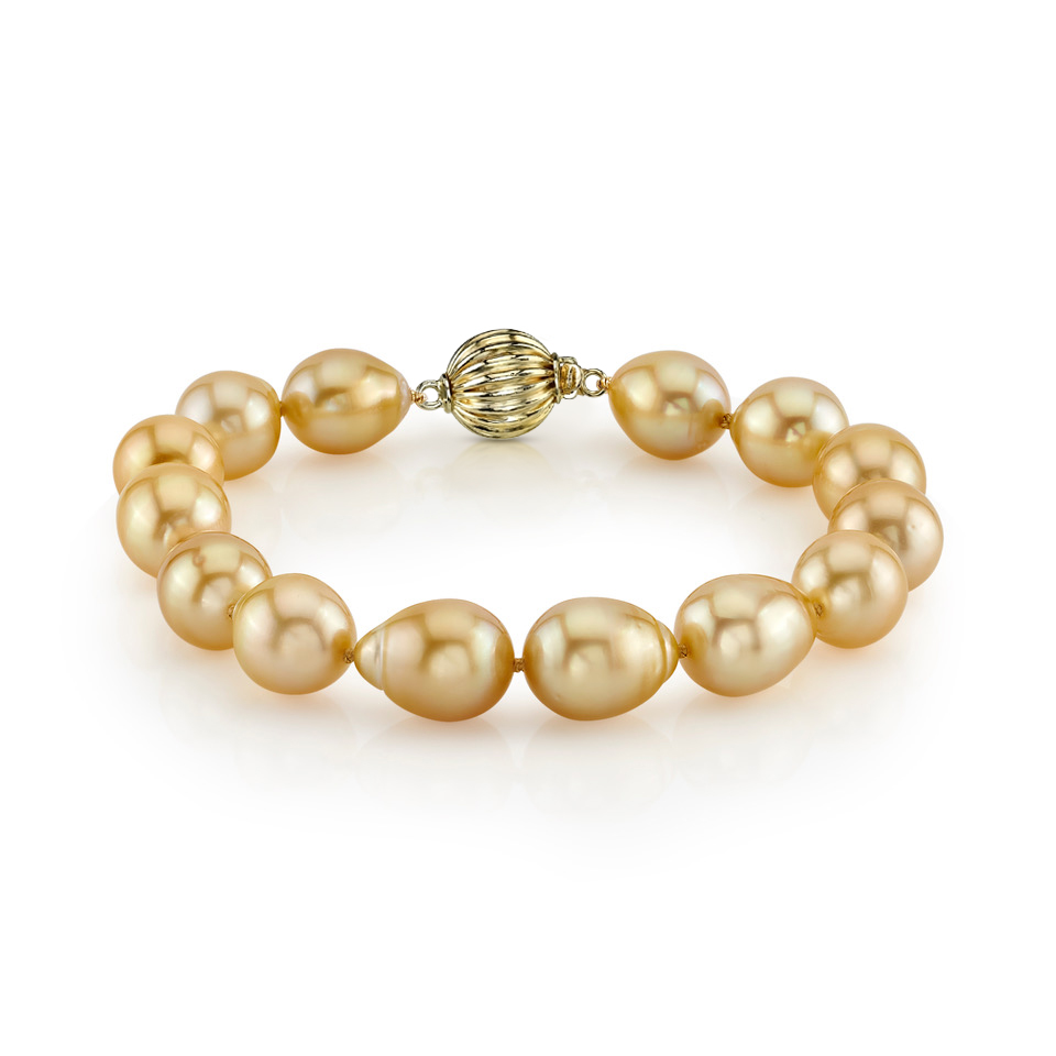 10-11mm Baroque Shaped Golden South Sea Pearl Bracelet