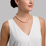 10-11mm Peach Freshwater Pearl Necklace - Model Image