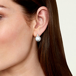 White South Sea Pearl & Diamond Ellie Earrings - Model Image