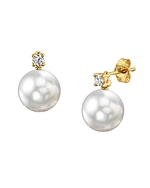 White South Sea Pearl & Diamond Ellie Earrings - Third Image