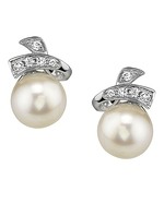 Freshwater Pearl & Diamond Chloe Earrings