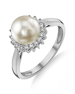 Akoya Pearl & Diamond Tessie Ring