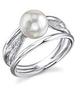 Akoya Pearl & Diamond Celestial Ring