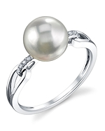 Akoya Pearl & Diamond Holly Ring