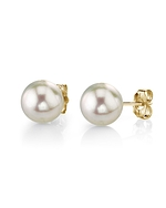 8.0-8.5mm White Akoya Pearl Stud Earrings - Secondary Image