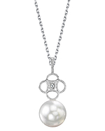 White South Sea Pearl & Diamond Lacy Pendant
