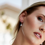 White Akoya Pearl Linda Earrings - Model Image