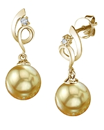 Golden Pearl & Diamond Symphony Earrings