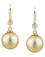 Golden Pearl & Diamond Michelle Earrings