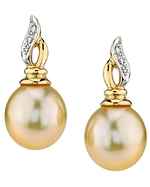 Golden South Sea Pearl Wave Earrings