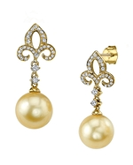 Golden Pearl & Diamond Caroline Earrings