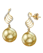 Golden Pearl & Diamond Jenny Earrings