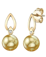 Golden South Sea Pearl & Diamond Lisa Earrings
