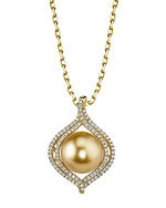 Golden Pearl & Diamond Clara Pendant