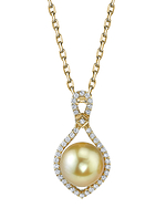 Golden Pearl & Diamond Ruth Pendant