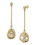 Golden South Sea Pearl & Diamond Marlo Earrings