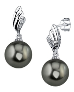 Tahitian South Sea Pearl & Diamond Lily Earrings
