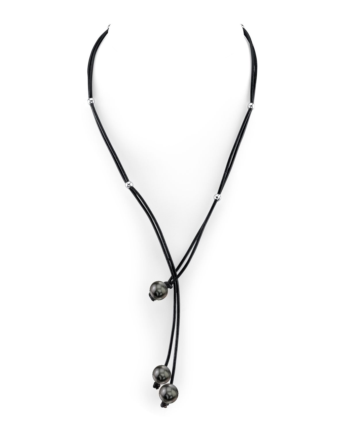 9mm Tahitian South Sea Pearl & Silver Rondelle Leather Necklace