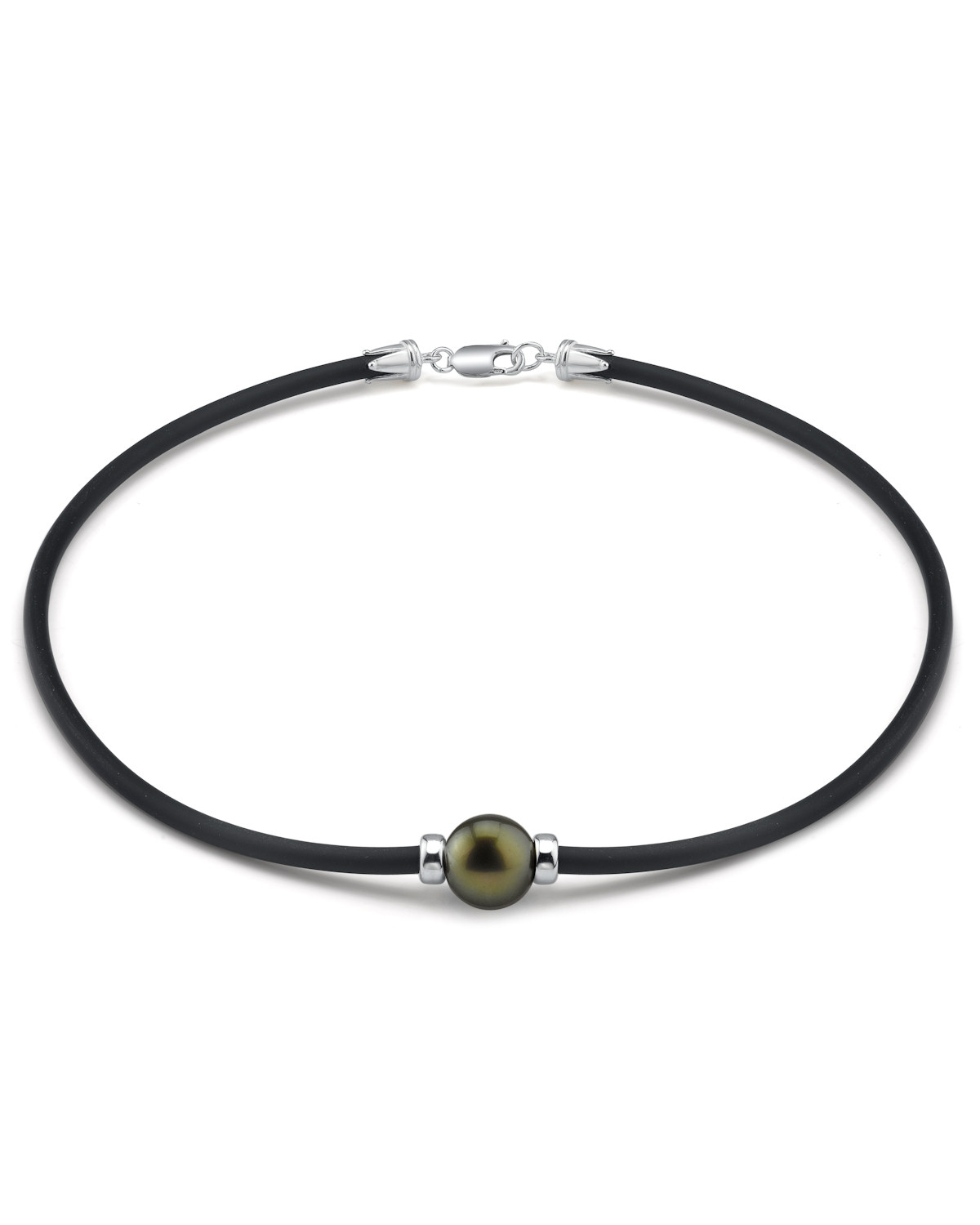 Tahitian Round Pearl Rubber Necklace- Various Sizes