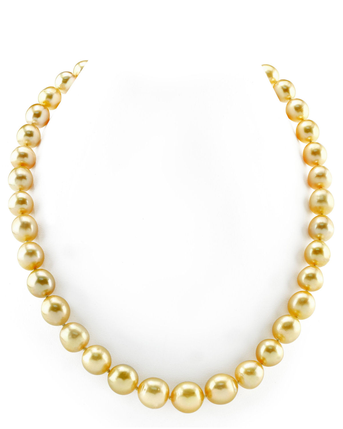 9-12mm Oval-Shaped Golden South Sea Pearl Necklace