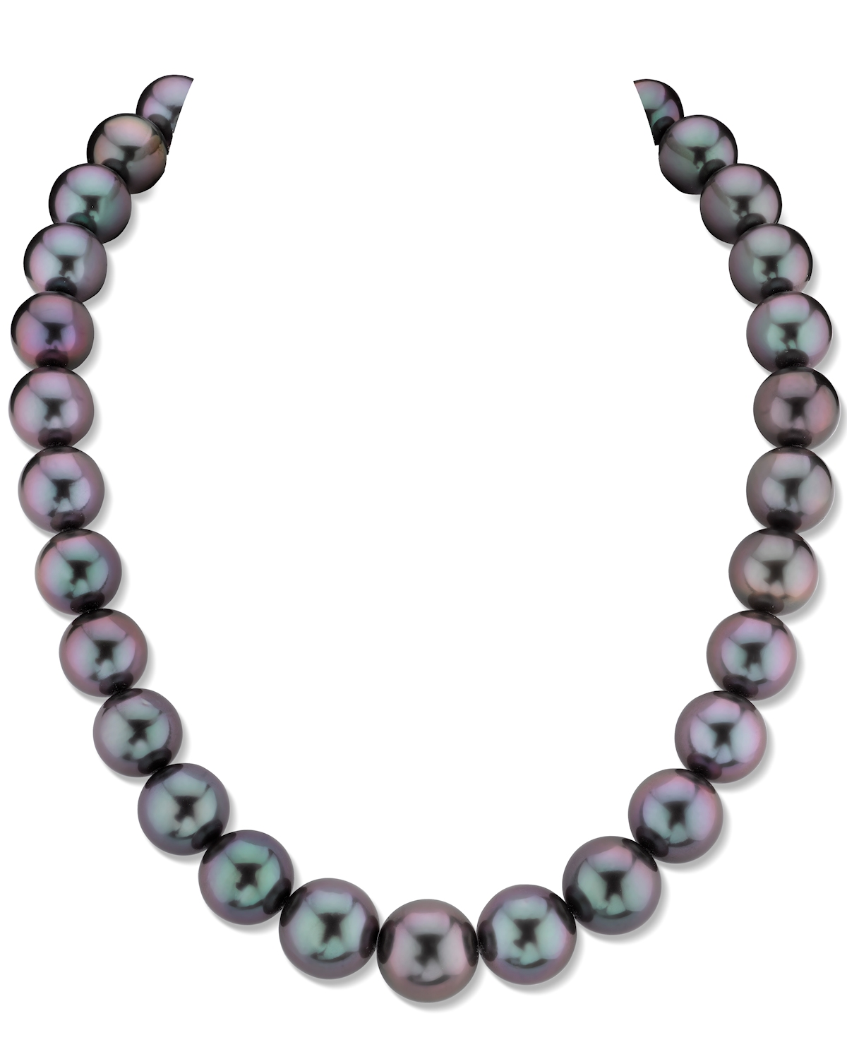 12-14mm Purple Eggplant Tahitian South Sea Pearl Necklace - AAAA Quality