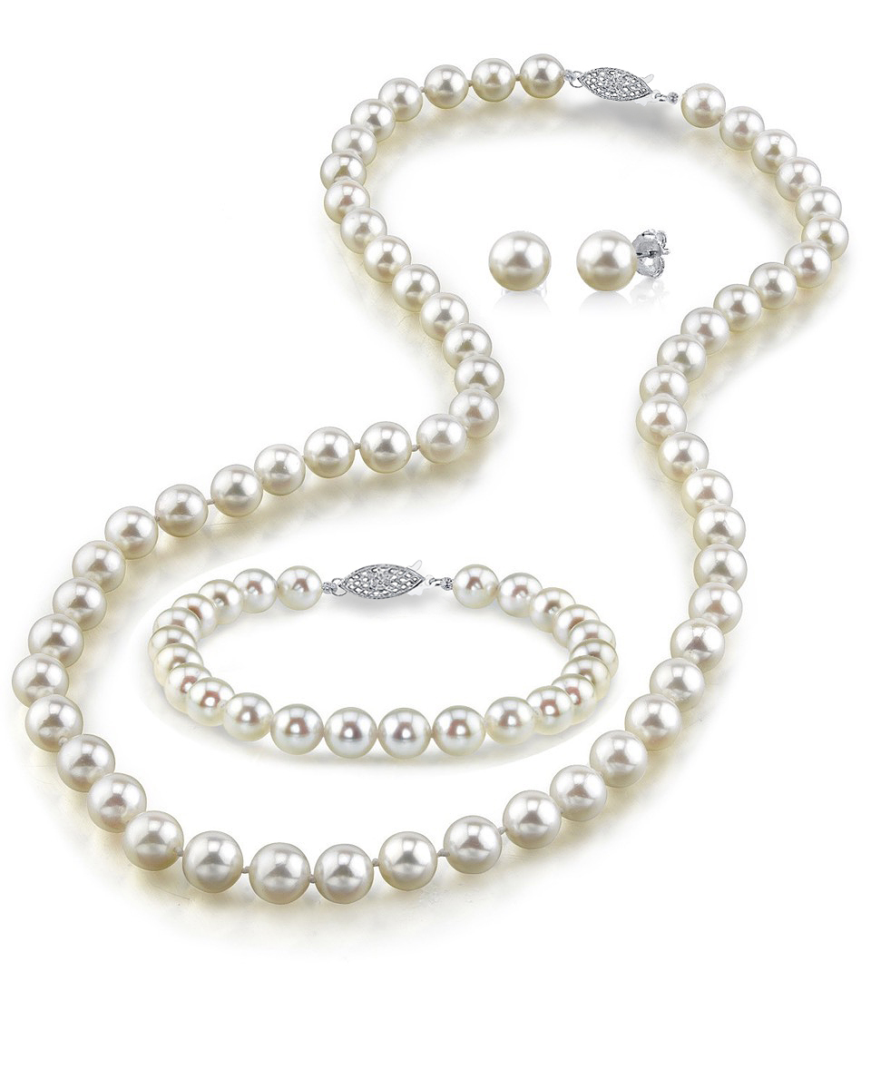 Japanese Akoya White Pearl Sets in AA+ Quality