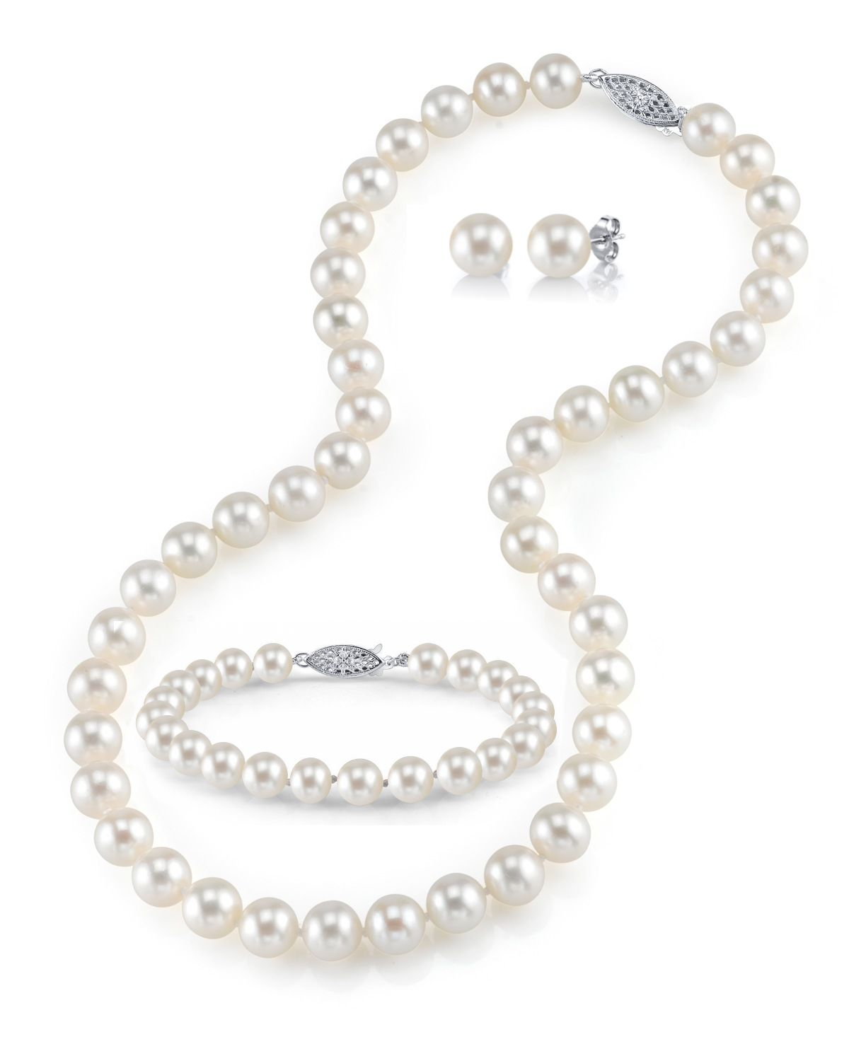 7-8mm Freshwater Pearl Necklace, Bracelet & Earrings