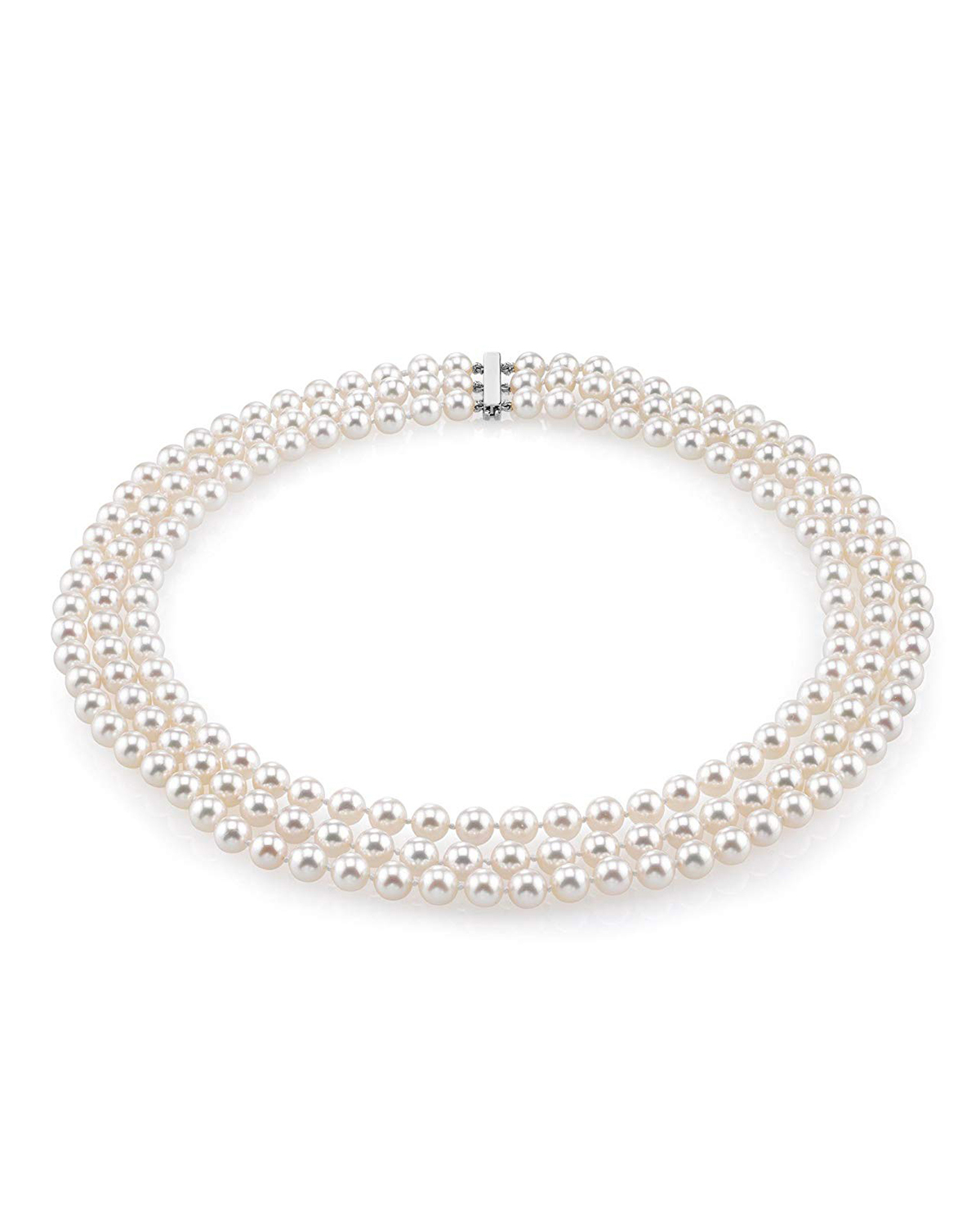 Triple Strand White Akoya Pearl Necklace