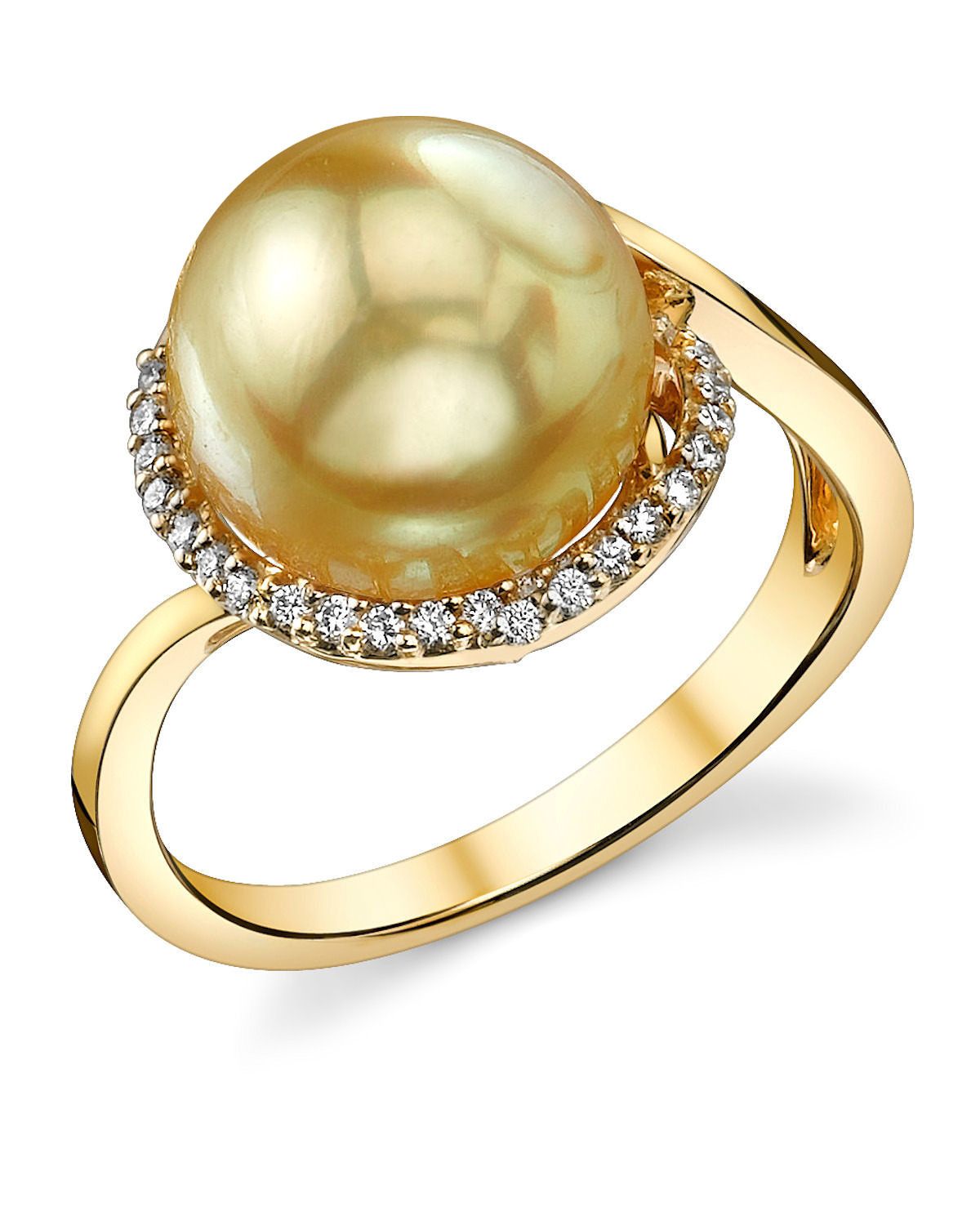 Golden Pearl & Diamond Summer Ring