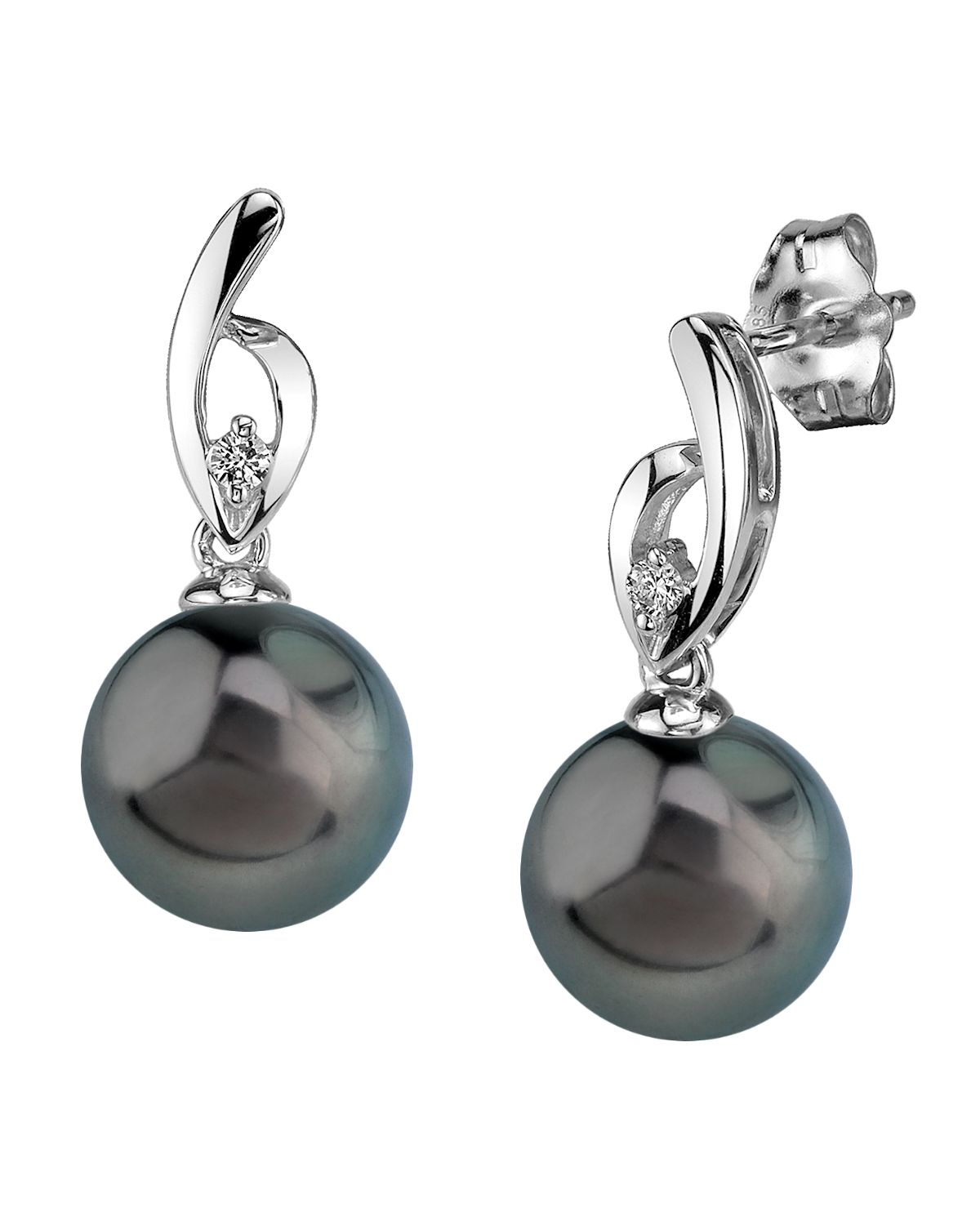 Tahitian South Sea Pearl & Diamond Lois Earrings