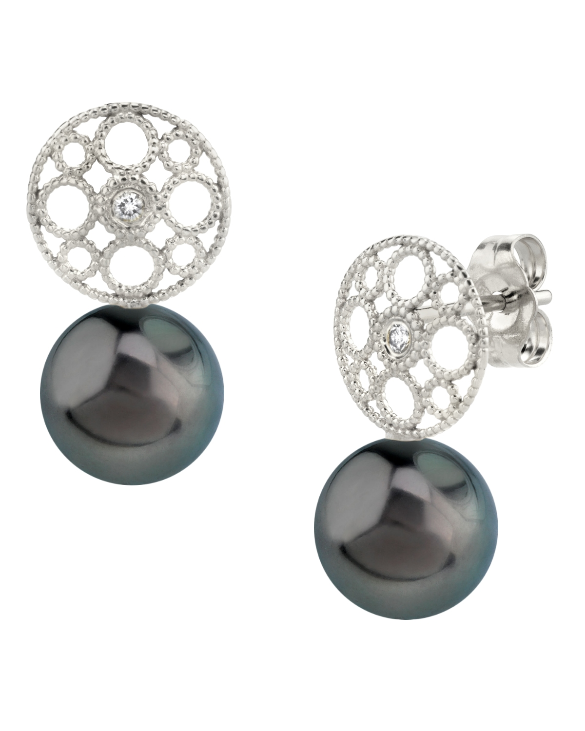 Tahitian South Sea Pearl & Diamond Faye Earrings
